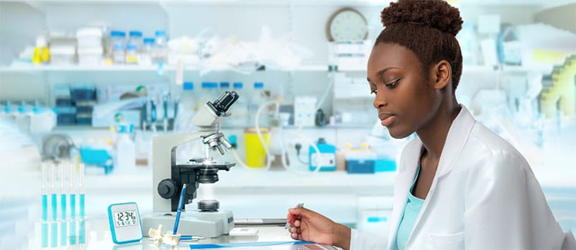 A Med Lab Tech in the lab. Take the Medical Laboratory Technician Program at Oxford.