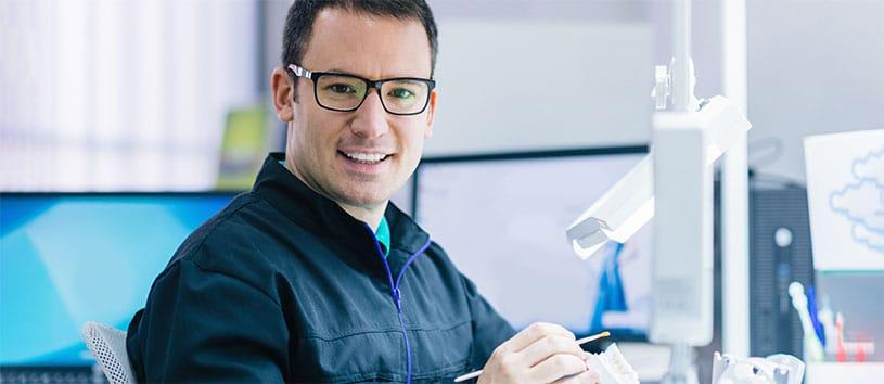 A Denturist making dentures. Take a Denturism Program at Oxford College.